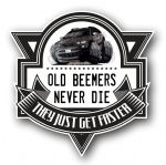 Koolart OLD BEEMERS NEVER DIE Motif For BMW X5 SUV External Vinyl Car Sticker Decal Badge 100x100mm